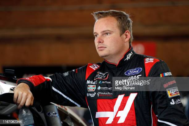 Cole Custer driver of the Haas Automation Ford looks on during practice laps at MidOhio Sports Car Course on August 09 2019 in Lexington Ohio