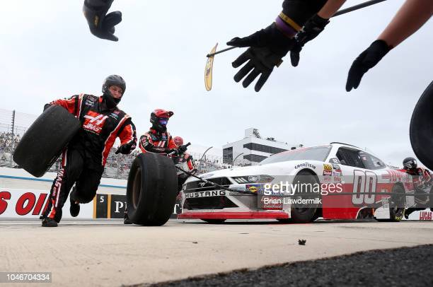 Cole Custer driver of the Haas Automation Ford pits during the NASCAR Xfinity Series Bar Harbor 200 presented by Sea Watch International at Dover...