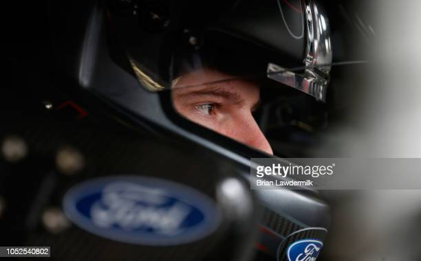 Cole Custer driver of the Haas Automation Ford prepares to drive during practice for the NASCAR Xfinity Series Kansas Lottery 300 at Kansas Speedway...