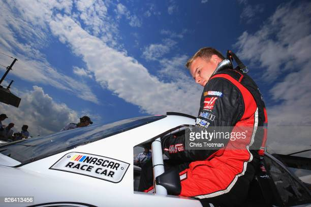 Cole Custer driver of the Haas Automation Ford prepares to drive during practice for the NASCAR XFINITY Series Zippo 200 at The Glen at Watkins Glen...