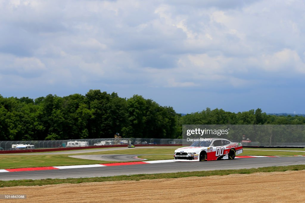 Cole Custer, driver of the #00 Haas Automation Ford, races during practice for the NASCAR Xfinity Series Rock N Roll Tequila 170 presented by Amethyst Beverage at Mid-Ohio Sports Car Course on August 10, 2018 in Lexington, Ohio.