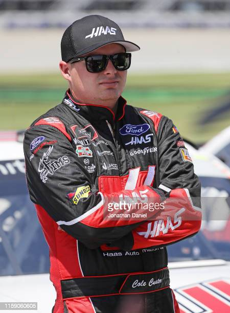 Cole Custer driver of the Haas Automation Ford relaxes after qualifying for the NASCAR Xfinity Series Camping World 300 at Chicagoland Speedway on...