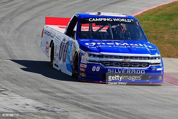 Cole Custer driver of the OneMain Chevrolet practices for the NASCAR Camping World Truck Series Texas Roadhouse 200 presented by Alpha Energy...