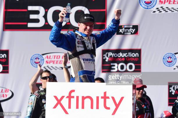 Cole Custer driver of the Thompson Pipe/Haas CNC Ford celebrates in victory lane after winnig the NASCAR Xfinity Series Production Alliance Group 300...