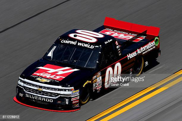 Cole Custer drives the Haas Automation Chevrolet during practice for the NASCAR Camping World Truck Series NextEra Energy Resources 250 at Daytona...