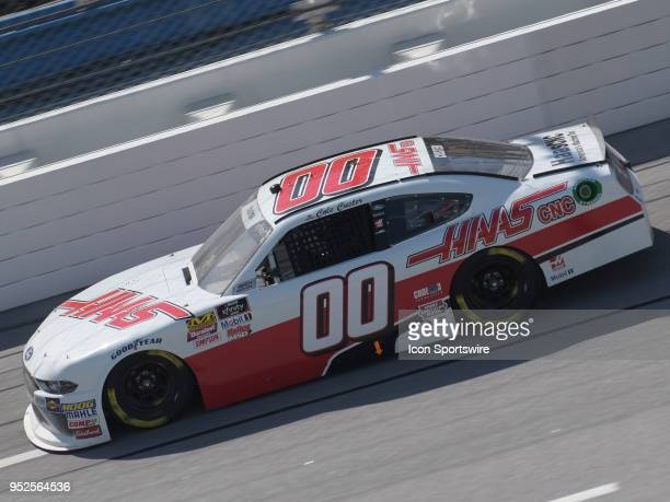 Cole Custer StewartHaas Racing Ford Mustang Haas Automation races through the trioval during the NASCAR Xfinity Series Sparks Energy 300 on April 28...
