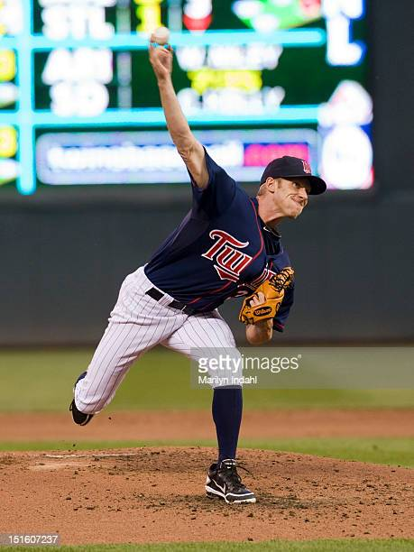 Cole De Vries of the Minnesota Twins delivers a pitch in the second inning against the Cleveland Indians at Target Field on September 8 2012 in...