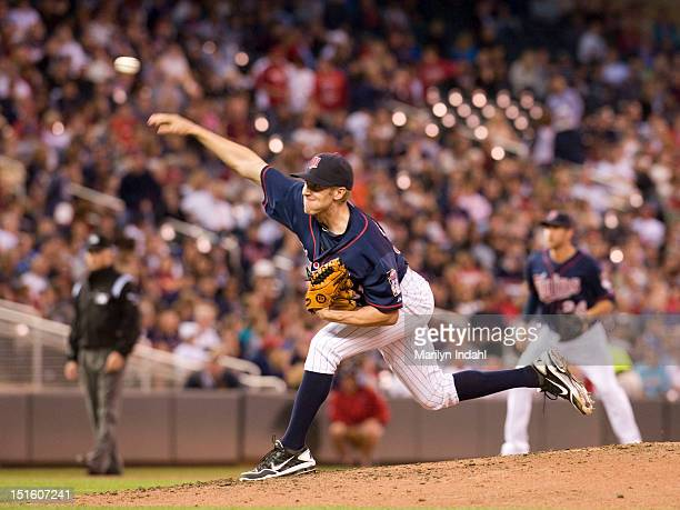 Cole De Vries of the Minnesota Twins delivers a pitch in the third inning against the Cleveland Indians at Target Field on September 8 2012 in...