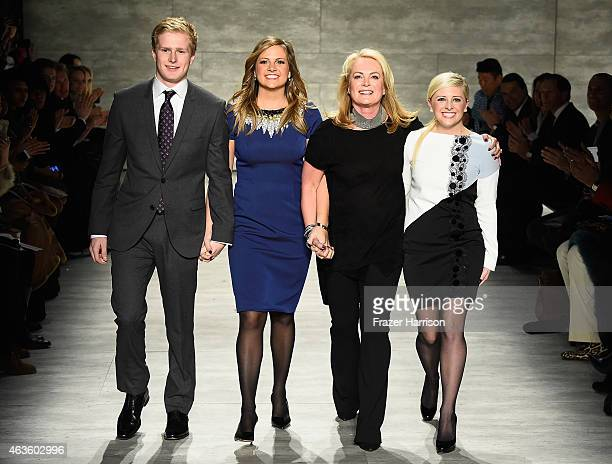 Cole DeVos, Cassandra De Vos, Pamella Roland and Sydney DeVos walk the runway at the Pamella Roland fashion show during Mercedes-Benz Fashion Week...