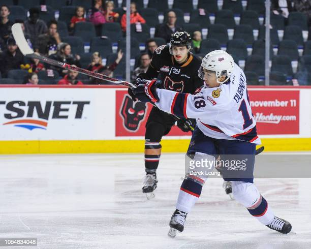 Cole Dubinsky of the Regina Pats in action against the Calgary Hitmen during a WHL game at the Scotiabank Saddledome on October 14, 2018 in Calgary,...