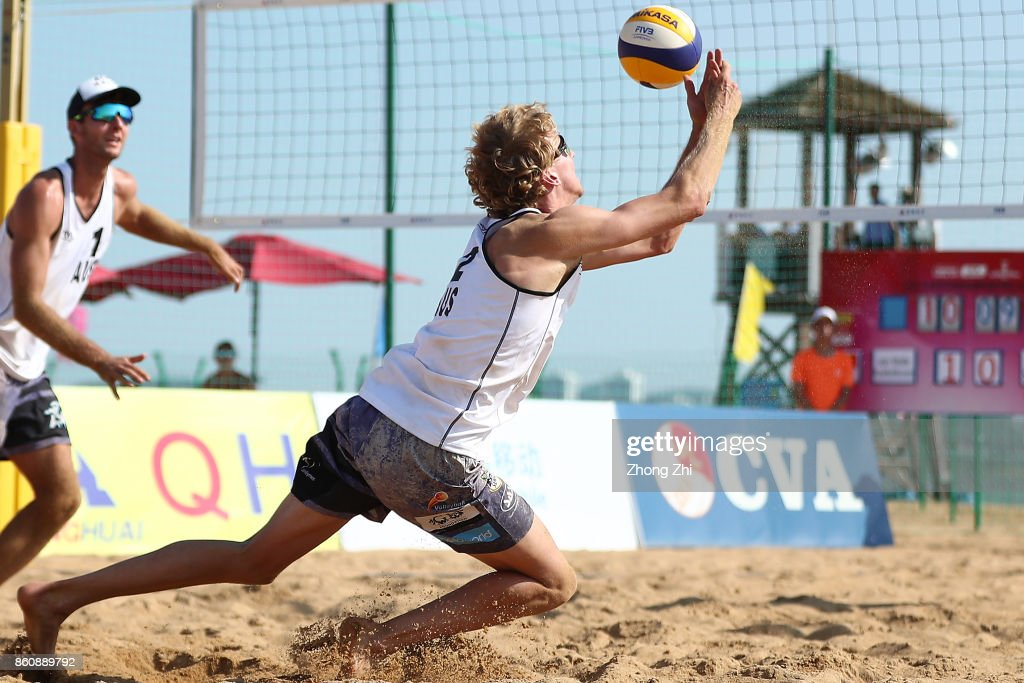 Cole Durant and Zachery Schubert(R) of Australia in action during the match against Dries Koekelkoren and Tom van Walle of Belgium on Day 3 of 2017 FIVB Beach Volleyball Qinzhou Open on October 13, 2017 in Qinzhou, China.