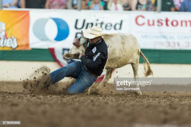 Cole Edge during the Steer Wrestling event at the Reno Rodeo on Tuesday June 19 2018 at the Reno Livestock Events Center in Reno Nev