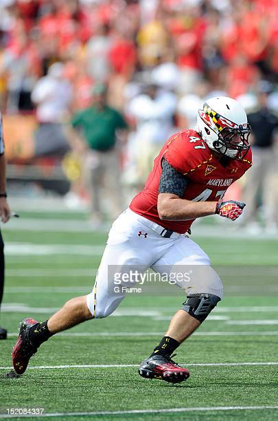 Cole Farrand of the Maryland Terrapins defends against the William Mary Tribe at Byrd Stadium on September 1 2012 in College Park Maryland