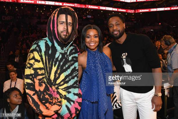 J Cole Gabrielle Union and Dwyane Wade attend the 2019 State Farm AllStar Saturday Night at Spectrum Center on February 16 2019 in Charlotte North...