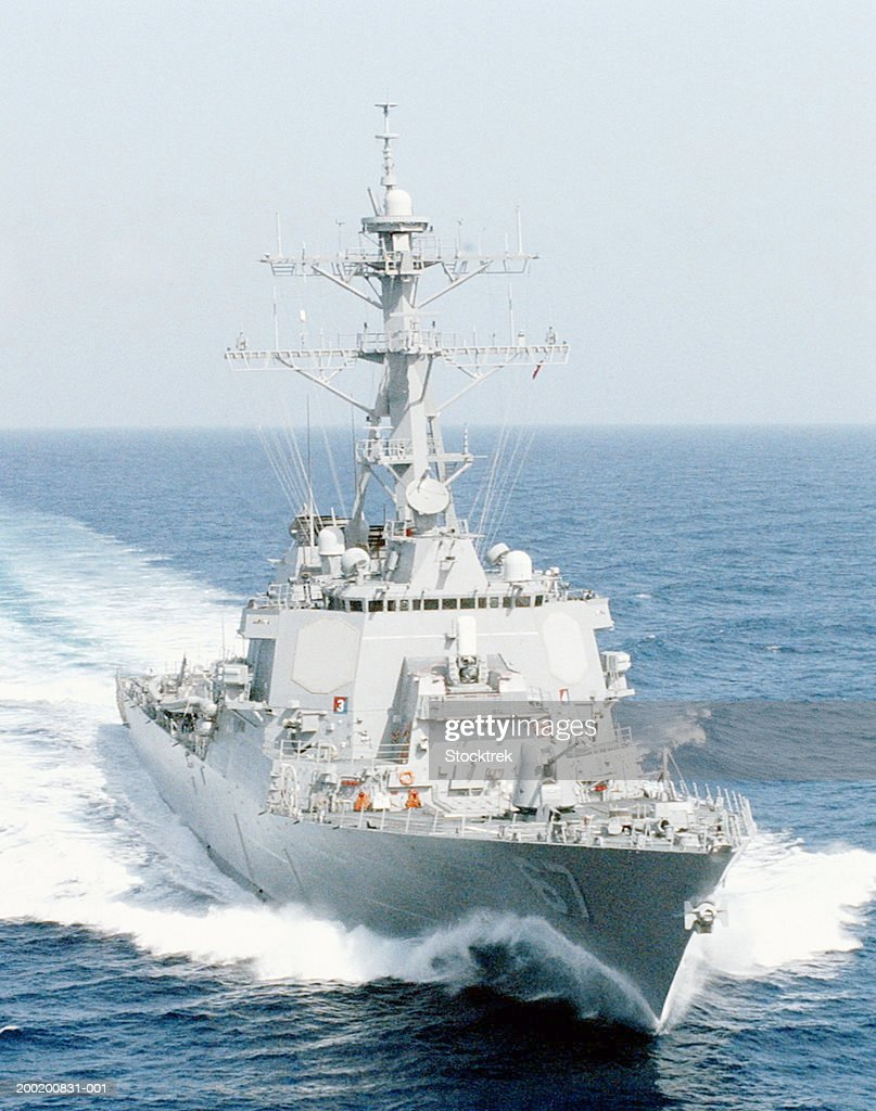 USS Cole guided missile destroyer at sea off Puerto Rico, Aug 2001 : Stock Photo