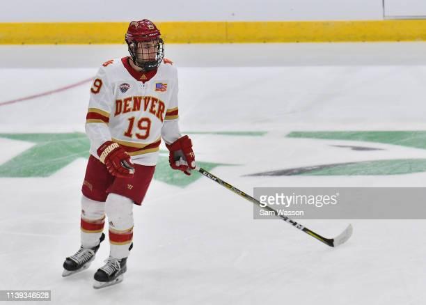 Cole Guttman of the Denver Pioneers warms up before an NCAA Division I Men's Ice Hockey West Regional Championship Semifinal game between the Ohio...