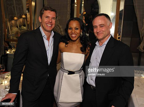 Cole Haan CEO Jim Seuss, Kerry Washington and Cole Haan CMO Michael Capiraso attend the Cole Haan Dinner for Maria Sharapova at Chateau Marmont on...