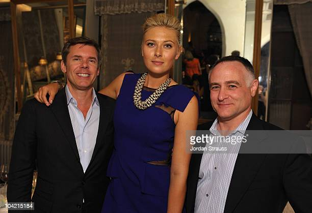 Cole Haan CEO Jim Seuss, Maria Sharapova and Cole Haan CMO Michael Capiraso attend the Cole Haan Dinner for Maria Sharapova at Chateau Marmont on...