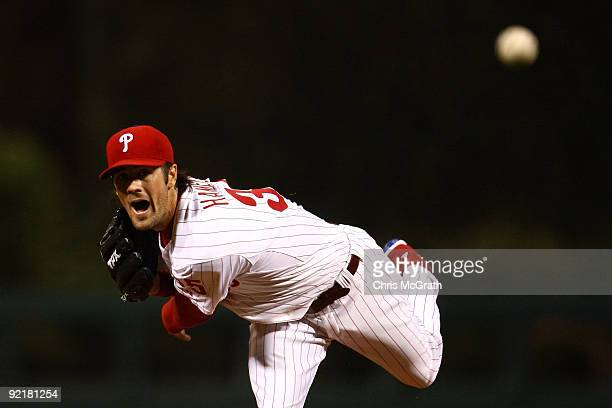 Cole Hamels of of the Philadelphia Phillies throws a pitch against the Los Angeles Dodgers in Game Five of the NLCS during the 2009 MLB Playoffs at...