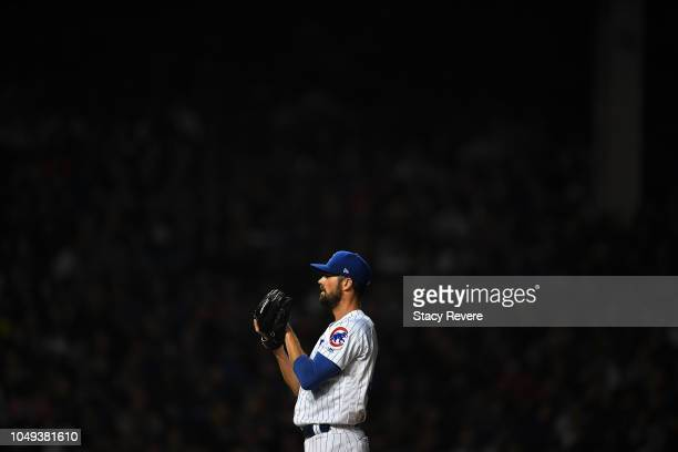 Cole Hamels of the Chicago Cubs on the mound during the National League Wild Card game against the Colorado Rockies at Wrigley Field on October 2...
