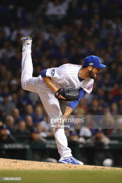 Cole Hamels of the Chicago Cubs pitches during the National League Wild Card game against the Colorado Rockies at Wrigley Field on Tuesday October 2...