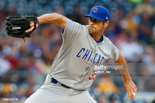 Cole Hamels of the Chicago Cubs pitches in the first inning against the Pittsburgh Pirates at PNC Park on August 1 2018 in Pittsburgh Pennsylvania