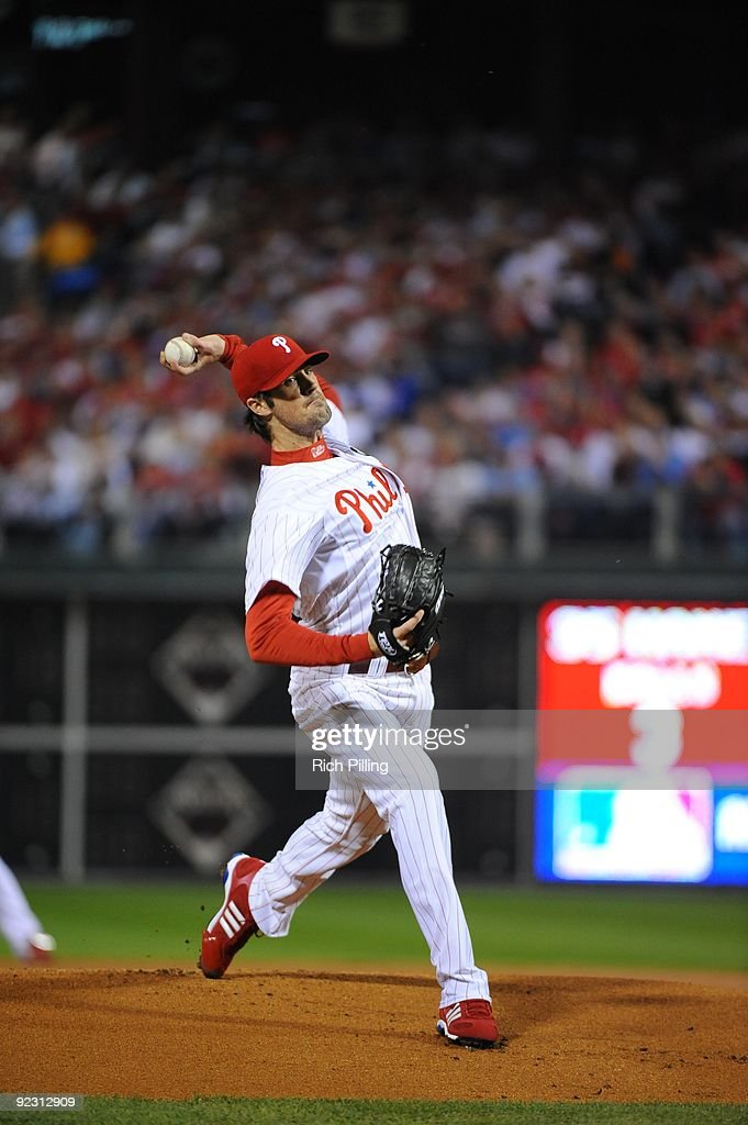 Cole Hamels of the Philadelphia Philles pitches during Game Five of the National League Championship Series (NLCS) against the Los Angeles Dodgers at Citizens Bank Park in Philadelphia, Pennsylvania on October 21, 2009. The Phillies defeated the Dodgers 10-4.