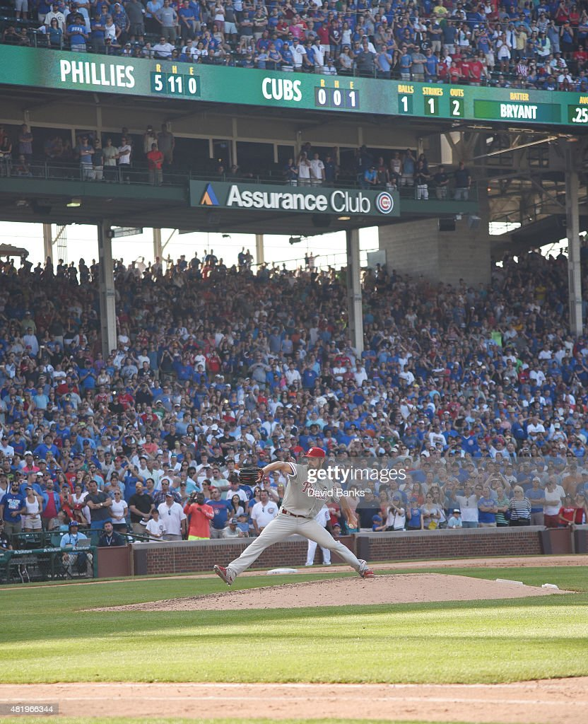 Cole Hamels #35 of the Philadelphia Phillies pitches against the Chicago Cubs with two outs in the ninth inning on July 25, 2015 at Wrigley Field in Chicago, Illinois. Hamels pitched a no hitter and the Phillies won 5-0.