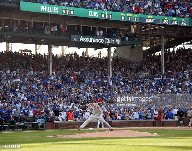 Cole Hamels of the Philadelphia Phillies pitches against the Chicago Cubs with two outs in the ninth inning on July 25 2015 at Wrigley Field in...