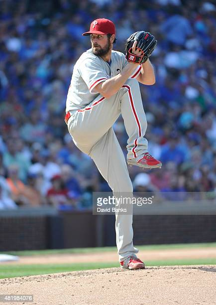Cole Hamels of the Philadelphia Phillies pitches against the Chicago Cubs during the fourth inning on July 25 2015 at Wrigley Field in Chicago...