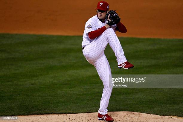 Cole Hamels of the Philadelphia Phillies pitches against the Tampa Bay Rays during game five of the Major League Baseball World Series at Citizens...