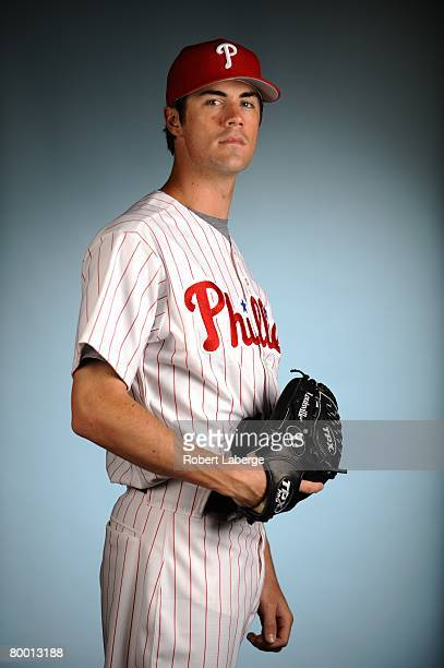 Cole Hamels of the Philadelphia Phillies poses for a portrait during the spring training photo day on February 21, 2008 at Bright House Field in...