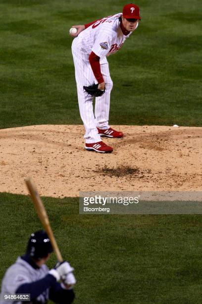 Cole Hamels of the Philadelphia Phillies prepares to pitch against the Tampa Bay Rays during game five of the Major League Baseball World Series at...