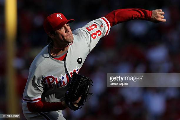 Cole Hamels of the Philadelphia Phillies throws a pitch against the St Louis Cardinals during Game Three of the National League Division Series at...