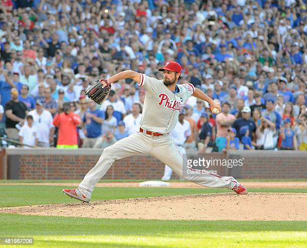 Cole Hamels of the Philadelphia Phillies throws his final pitch of his no hitter to Kris Bryant of the Chicago Cubson July 25 2015 at Wrigley Field...