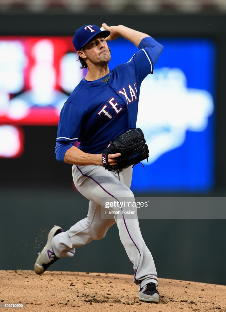 Cole Hamels #35 of the Texas Rangers delivers a pitch against the Minnesota Twins during the first inning of the game on August 5, 2017 at Target Field in Minneapolis, Minnesota.