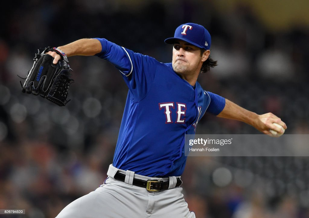 Cole Hamels #35 of the Texas Rangers delivers a pitch against the Minnesota Twins during the ninth inning of the game on August 5, 2017 at Target Field in Minneapolis, Minnesota. The Rangers defeated the Twins 4-1.
