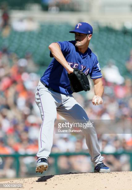 Cole Hamels of the Texas Rangers pitches against the Detroit Tigers at Comerica Park on July 7 2018 in Detroit Michigan