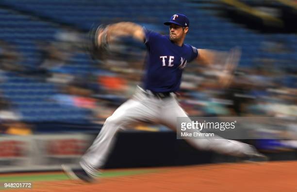 Cole Hamels of the Texas Rangers pitches during a game against the Tampa Bay Rays at Tropicana Field on April 18 2018 in St Petersburg Florida