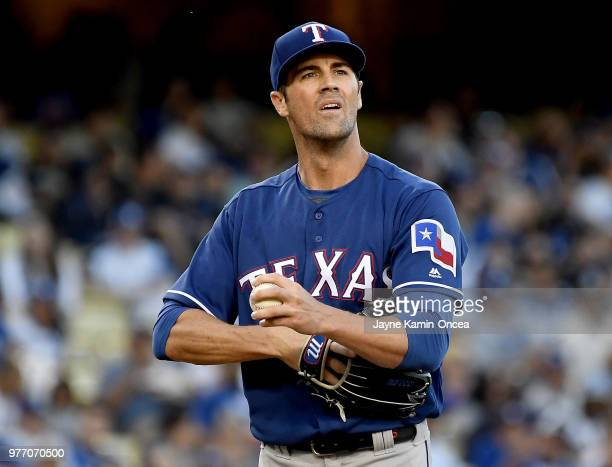 Cole Hamels of the Texas Rangers pitches in the game against the Los Angeles Dodgers at Dodger Stadium on June 13 2018 in Los Angeles California