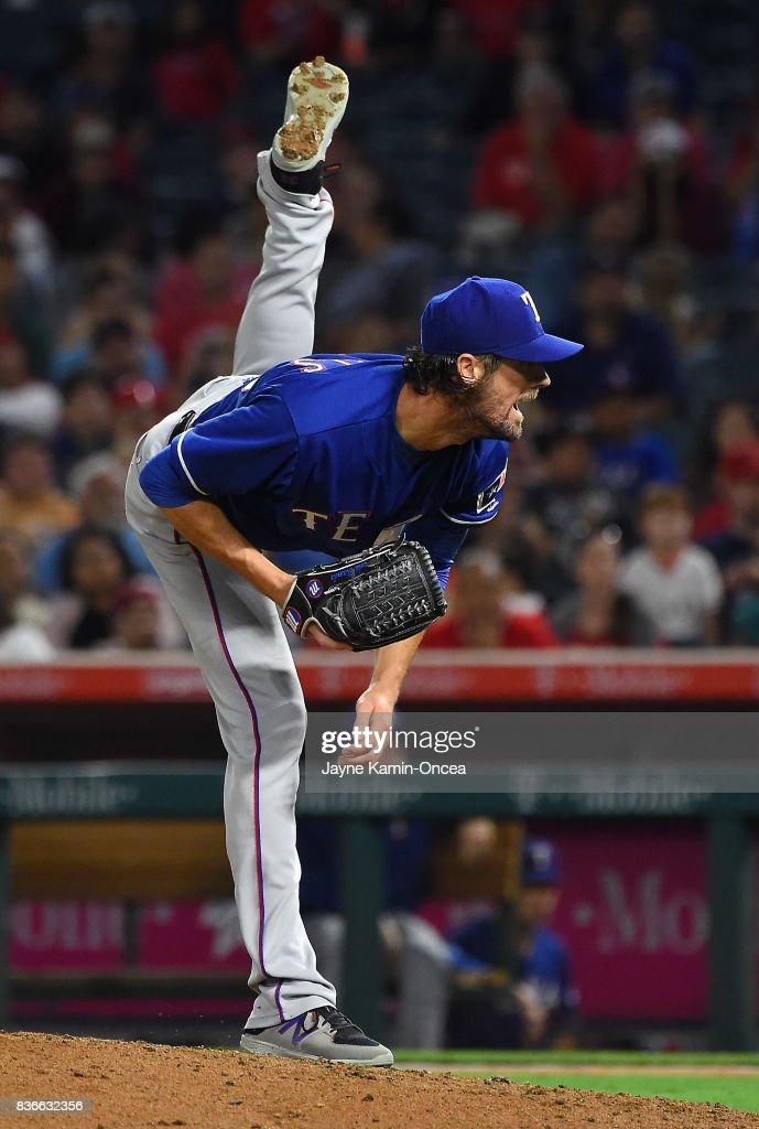 Cole Hamels #35 of the Texas Rangers pitches in the sixth inning of the game against the Los Angeles Angels of Anaheim at Angel Stadium of Anaheim on August 21, 2017 in Anaheim, California.