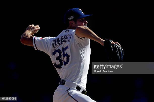 Cole Hamels of the Texas Rangers throws a pitch against the Toronto Blue Jays during game one of the American League Divison Series at Globe Life...