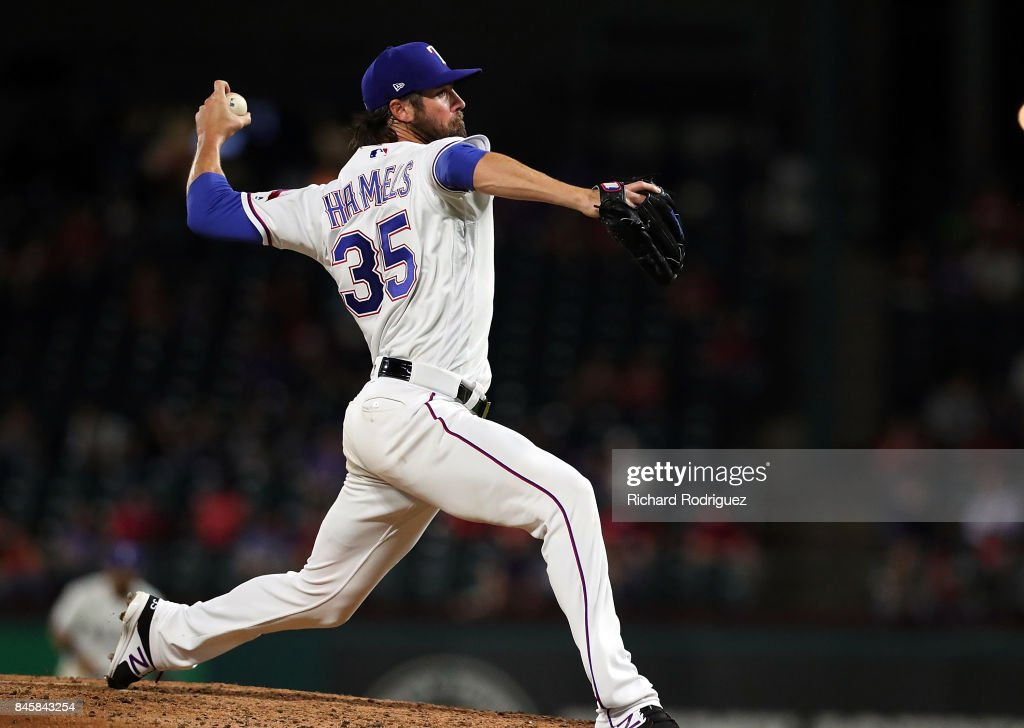 Cole Hamels #35 of the Texas Rangers works the 6th inning against the Seattle Mariners at Globe Life Park in Arlington on September 11, 2017 in Arlington, Texas.