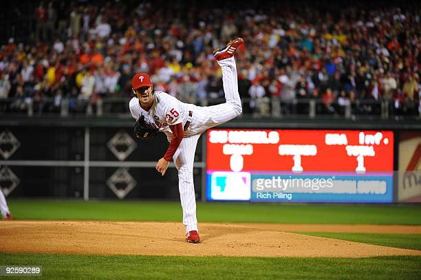 Cole Hamles of the Philadelphia Phillies pitches during Game Three of the 2009 MLB World Series at Citizens Bank Park on October 31 2009 in...