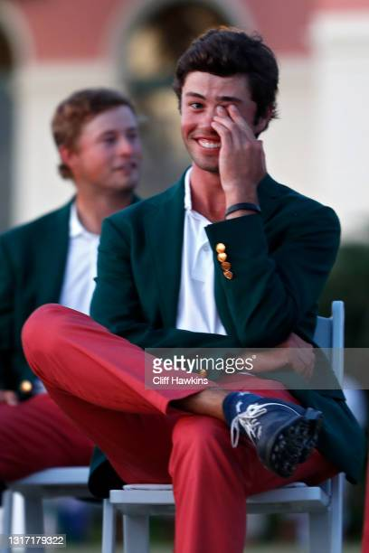 Cole Hammer of Team USA reacts during closing ceremonies on Day Two of The Walker Cup at Seminole Golf Club on May 09, 2021 in Juno Beach, Florida.
