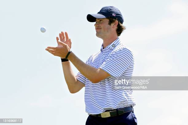 Cole Hammer of Team USA receives the ball on the 13th green during Day One of The Walker Cup at Seminole Golf Club on May 08, 2021 in Juno Beach,...