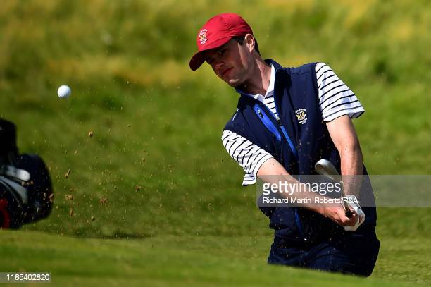 Cole Hammer of the United States hits a bunker shot during a practice round at Royal Birkdale Golf Club prior to the 2019 Walker Cup on September 1...