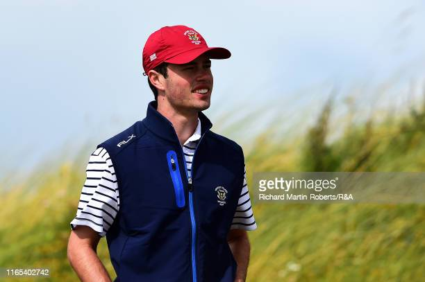 Cole Hammer of the United States looks on during a practice round at Royal Birkdale Golf Club prior to the 2019 Walker Cup on September 1 2019 in...