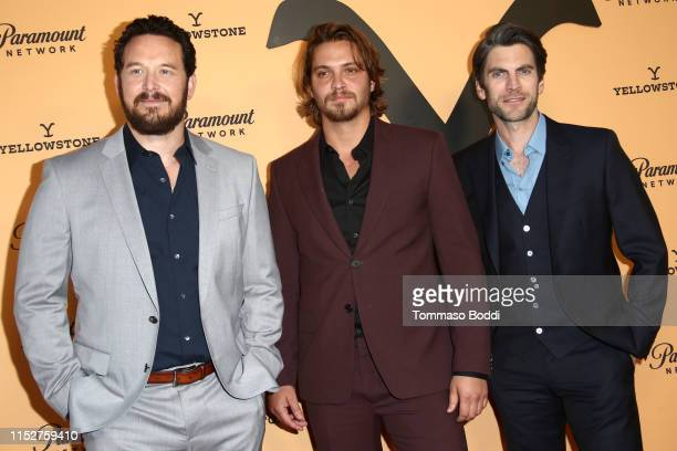 Cole Hauser Luke Grimes and Wes Bentley attend the Premiere Party For Paramount Network's Yellowstone Season 2 at Lombardi House on May 30 2019 in...