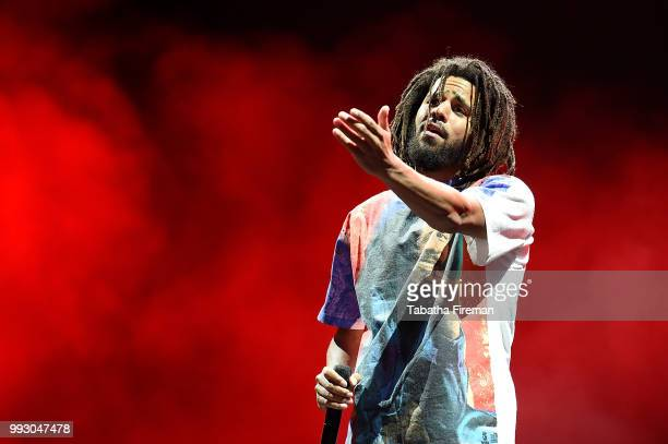 J Cole headlines the Main Stage on Day 1 of Wireless Festival 2018 at Finsbury Park on July 6 2018 in London England